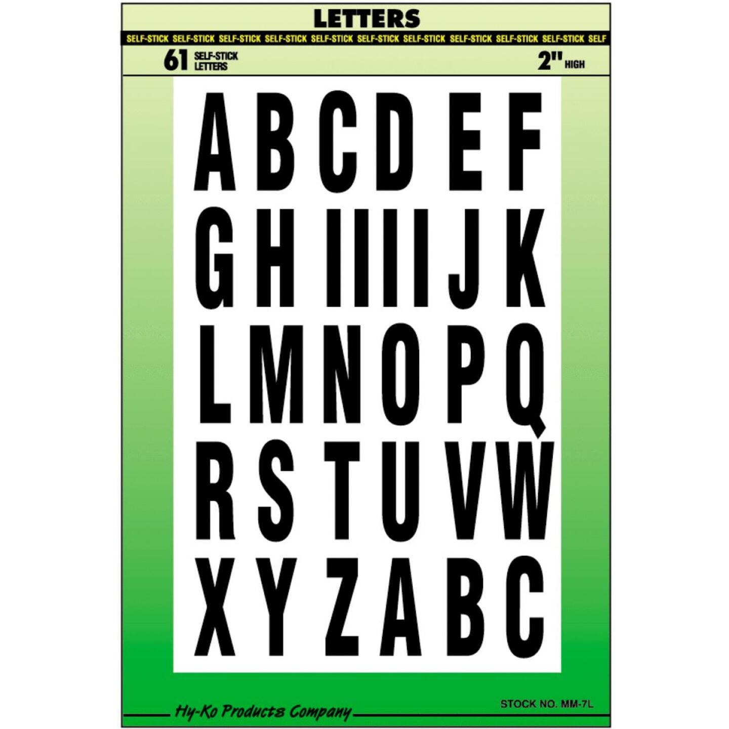 Hy-Ko Self-Adhesive Polyester 2 In. Black Letter Set Image 1