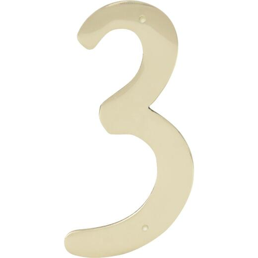 Hy-Ko 4 In. Polished Brass House Number Three