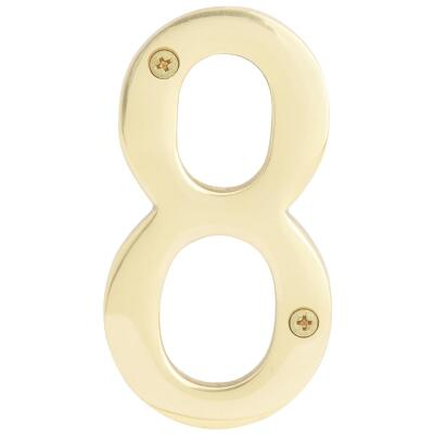 Hy-Ko 4 In. Polished Brass House Number Eight