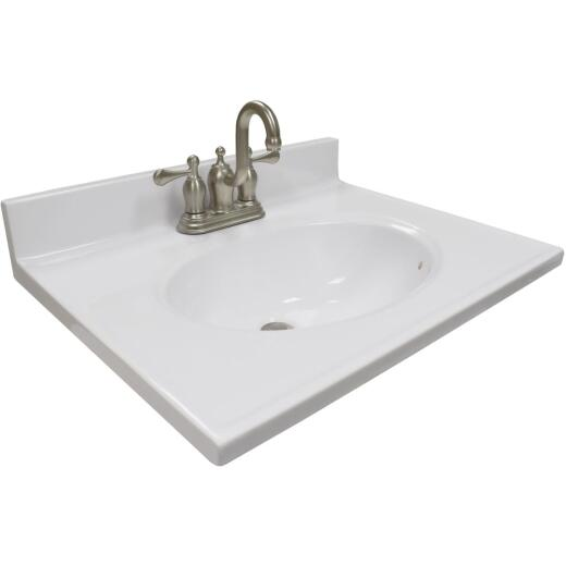 Modular Vanity Tops 25 In. W x 19 In. D Solid White Cultured Marble Vanity Top with Oval Bowl