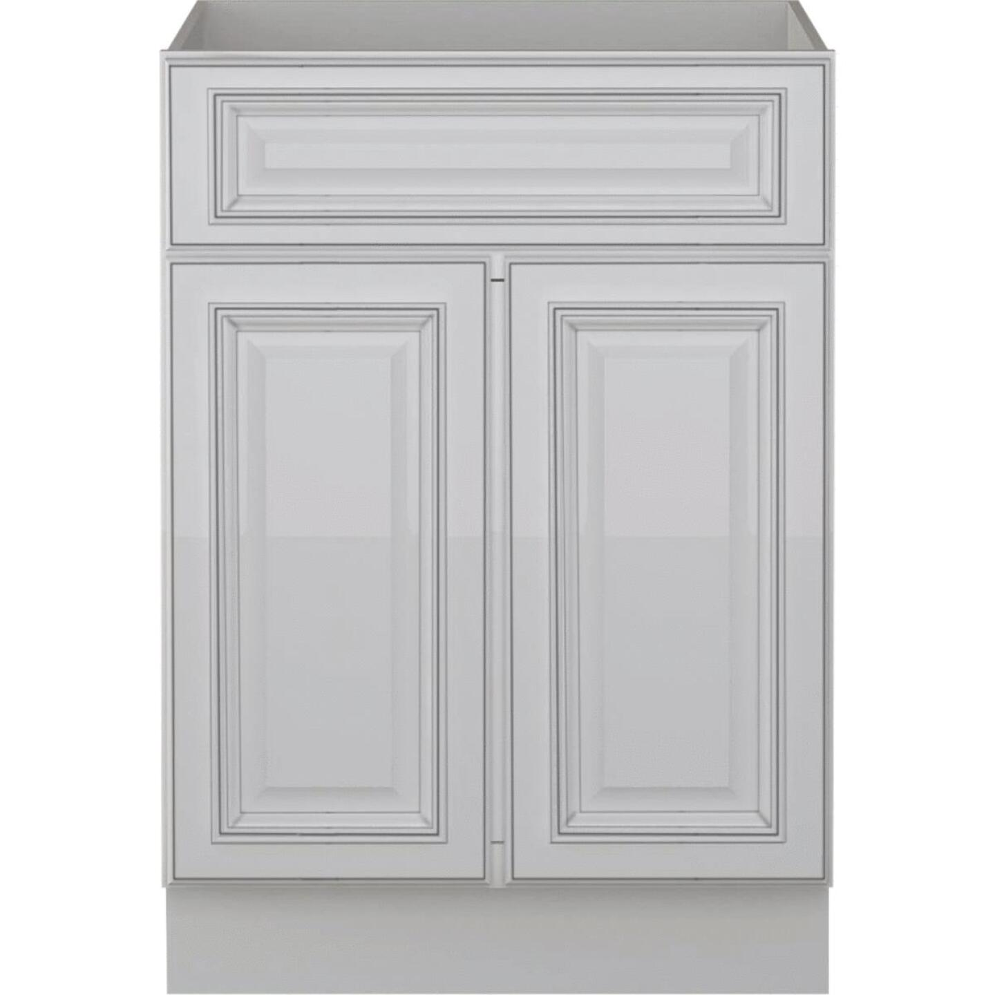 Sunny Wood Riley White with Dover Glaze 24 In. W x 34-1/2 In. H x 21 In. D Vanity Base, 2 Door Image 1