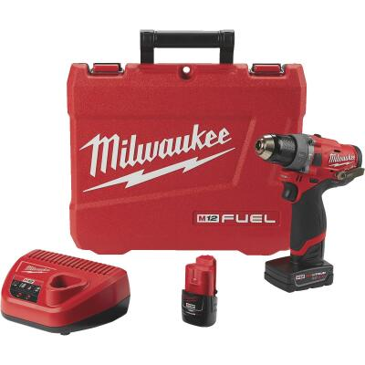 Milwaukee M12 12-Volt Lithium-Ion Brushless 1/2 In. Cordless Hammer Drill Kit