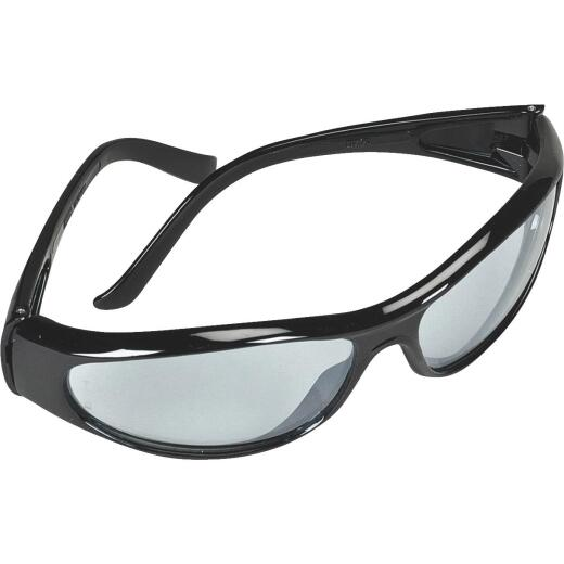 Safety Works Blue Essential Style Black Frame Safety Glasses with Anti-Fog Light Blue Mirrored Lenses