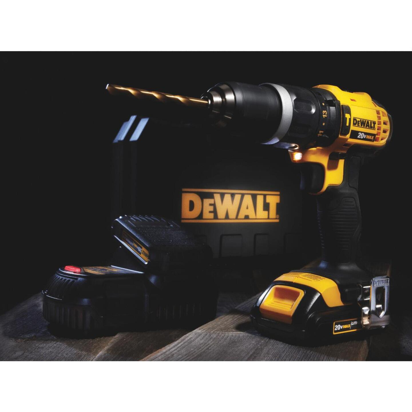 DeWalt 20 Volt MAX Lithium-Ion 1/2 In. Compact Cordless Hammer Drill Kit Image 2