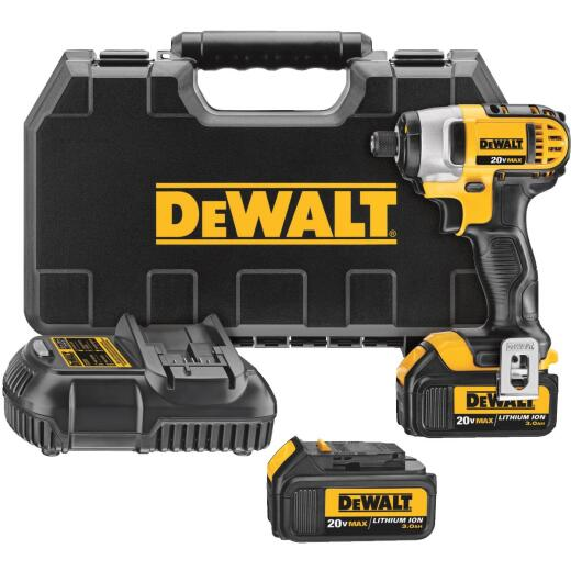 DeWalt 20 Volt MAX Lithium-Ion 1/4 In. Hex Cordless Impact Driver Kit