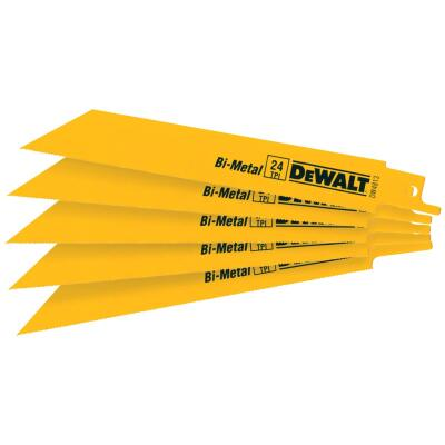 DeWalt 6 In. 24 TPI Thin Metal Reciprocating Saw Blade (5-Pack)