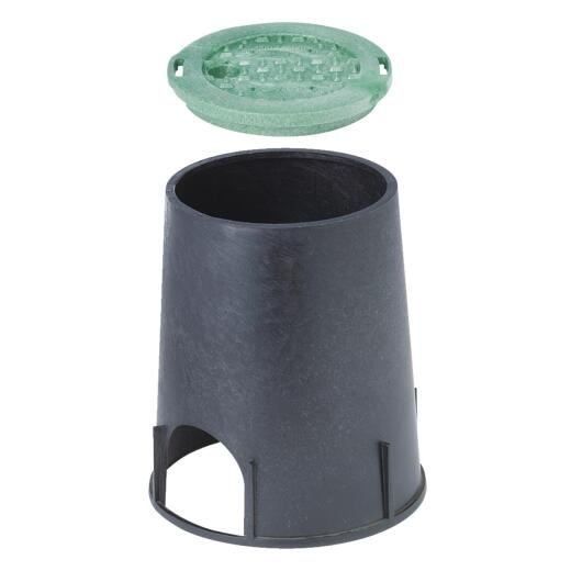 National Diversified 7 In. Round Black & Green Valve Box with Cover