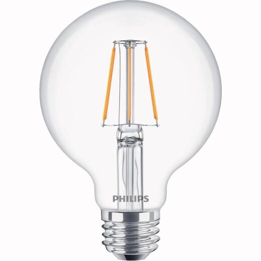 Philips Warm Glow All Glass 60W Equivalent Soft White G25 Medium Dimmable LED Decorative Globe Light Bulb