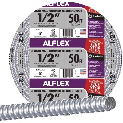 Southwire 1/2 In. x 100 Ft. Aluminum Flexible Flexible Metal Conduit