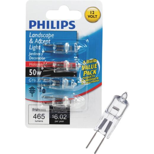 Philips 50W 12V Clear GY6.35 Base T4 Halogen Special Purpose Light Bulb (4-Pack)