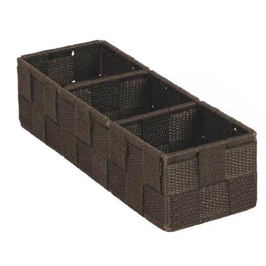 Home Impressions 3.25 In. W. x 2.25 In. H. x 9.5 In. L. Woven Storage Tray, Brown