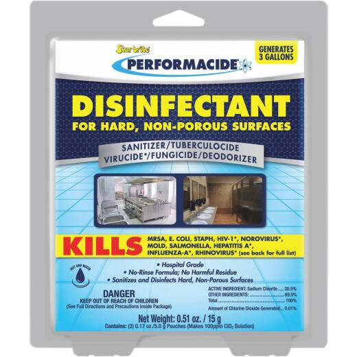 Starbrite Performacide Hard Surface Disinfectant Refill, 1 Gal, (3-Pack)