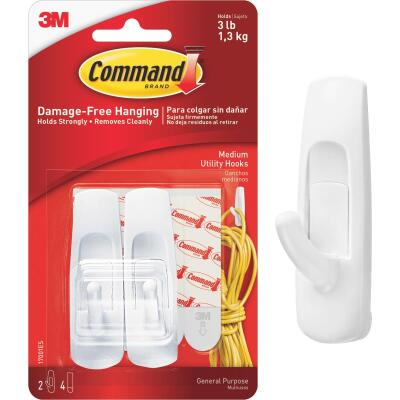 Command 7/8 In. x 3 In. Utility Adhesive Hook (2 Pack)