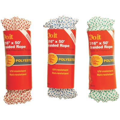 Do it 3/16 In. x 50 Ft. Assorted Colors Diamond Braided Polyester Packaged Rope