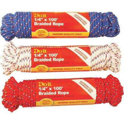 Do it 1/4 In. x 100 Ft. Assorted Colors Diamond Braided Polypropylene Packaged Rope