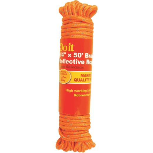 Do it 1/4 In. x 50 Ft. Orange Braided Reflective Polypropylene Packaged Rope