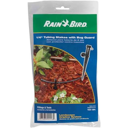 Rain Bird 1/4 In. Tubing Plastic Tubing Stake with Bug Guard (10-Pack)