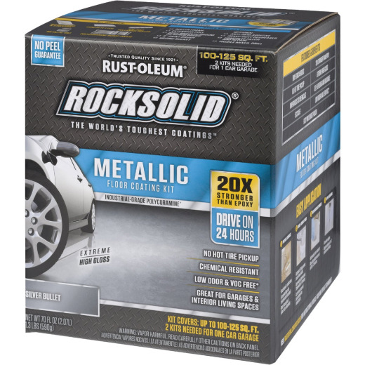 Rust-Oleum RockSolid Metallic Floor Coating Kit, Silver, 70 Oz.