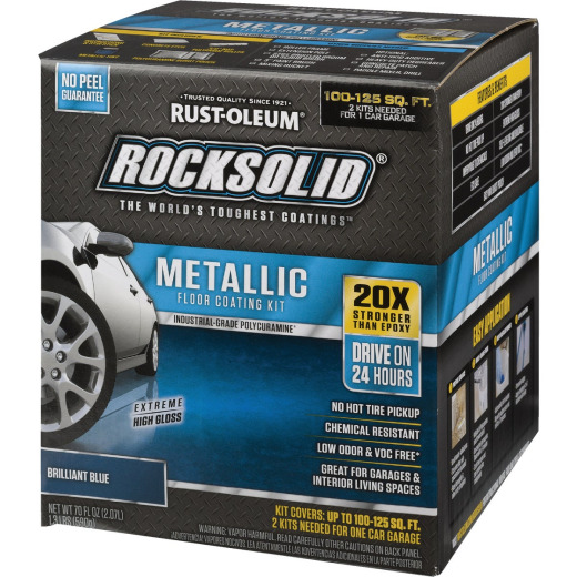 Rust-Oleum RockSolid Metallic Floor Coating Kit, Blue, 70 Oz.