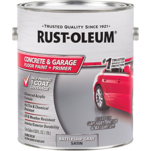 Rust-Oleum Concrete & Garage Floor Paint & Primer, 1 Gal., Battleship Gray