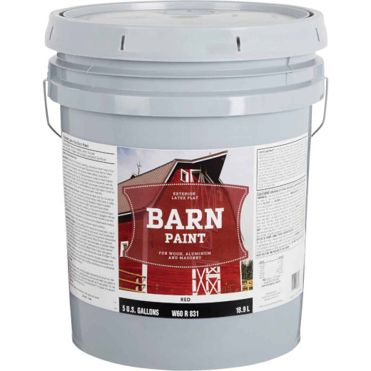 Do it Best Latex Flat Exterior Barn Paint, Red, 5 Gal.