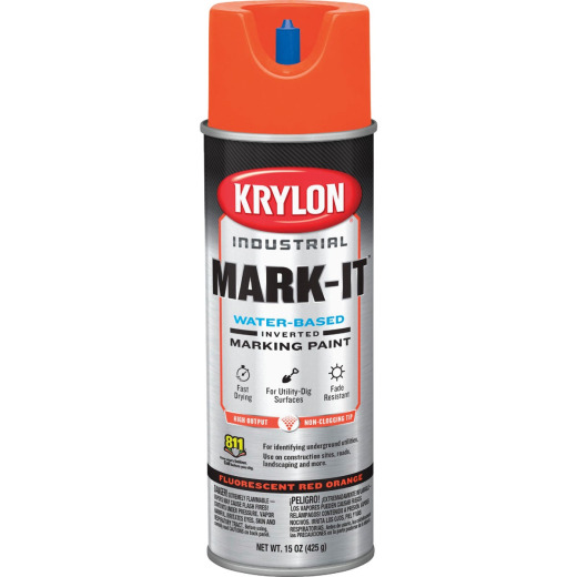 Krylon Fluorescent Red Orange 15 Oz. Inverted Marking Spray Paint
