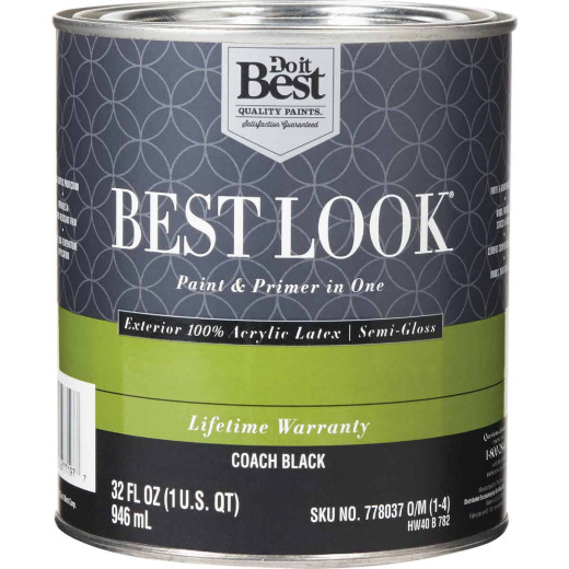 Best Look 100% Acrylic Latex Paint & Primer In One Semi-Gloss Exterior House Paint, Coach Black, 1 Qt.