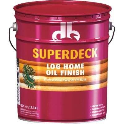 Duckback SUPERDECK Translucent Log Home Oil Finish, Autumn Brown, 5 Gal.
