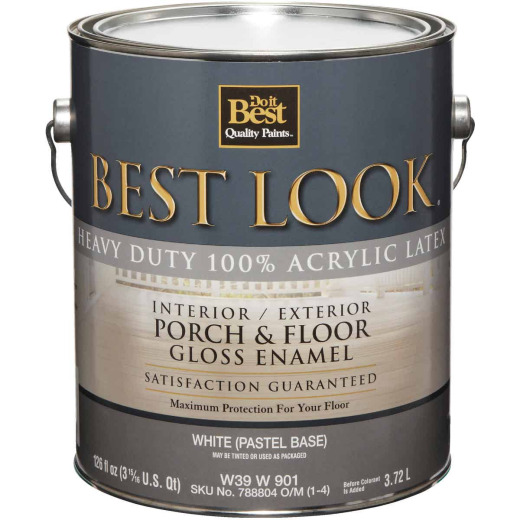 Best Look 1 Gal. White/Pastel Base Heavy-Duty Acrylic Latex Gloss Porch & Floor Enamel