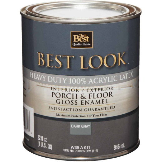 Best Look 1 Qt. Dark Gray Base Heavy-Duty Acrylic Latex Gloss Porch & Floor Enamel