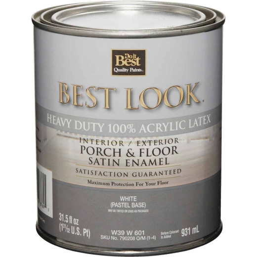 Best Look 1 Qt. White Heavy-Duty Acrylic Latex Satin Porch & Floor Enamel
