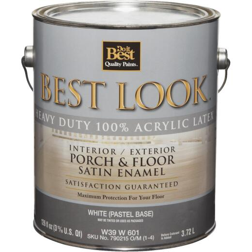 Best Look 1 Gal. White Heavy-Duty Acrylic Latex Satin Porch & Floor Enamel