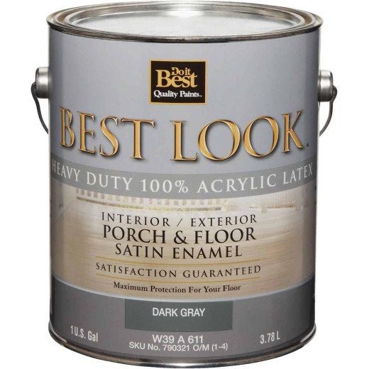 Best Look 1 Gal. Dark Gray Heavy-Duty Acrylic Latex Satin Porch & Floor Enamel