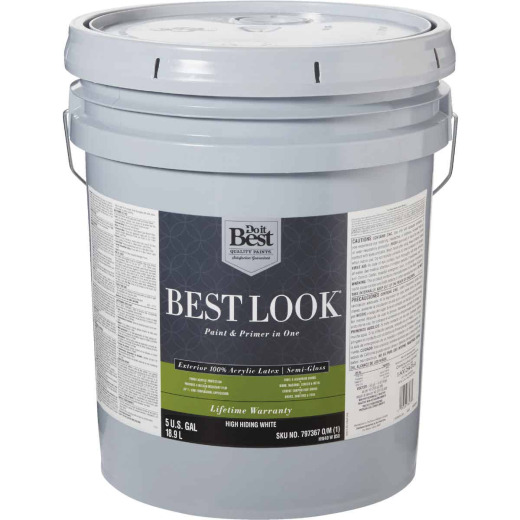 Best Look 100% Acrylic Latex Paint & Primer In One Semi-Gloss Exterior House Paint, High Hiding White, 5 Gal.