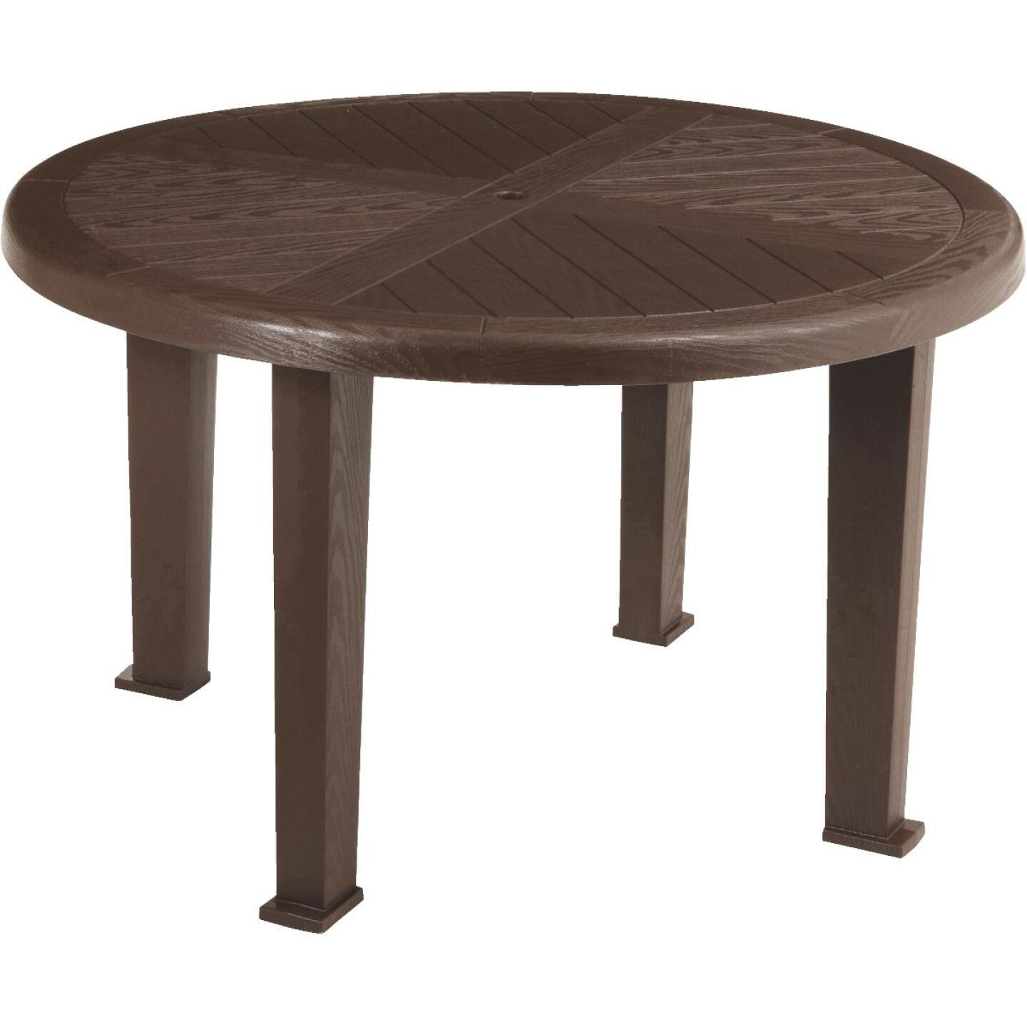 Brentwood 48 In. Round Brown Resin Table Image 1