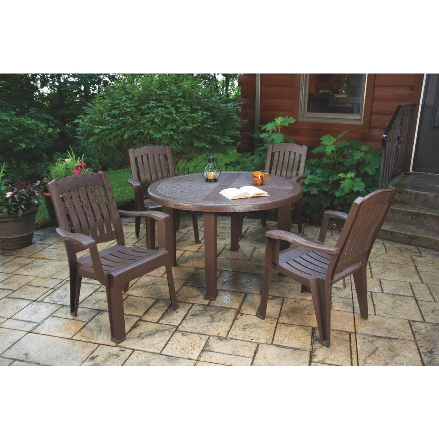 Brentwood 48 In. Round Brown Resin Table Image 3