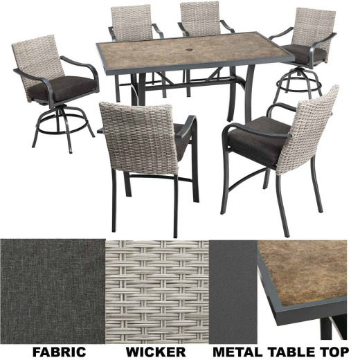 Pacific Casual Cedar Springs 7-Piece Dining Set with Cushions