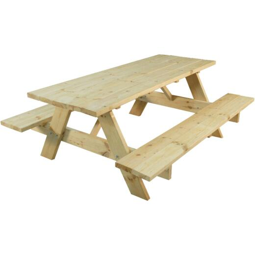 Outdoor Essentials 6 Ft. Natural Untreated Picnic Table with Benches