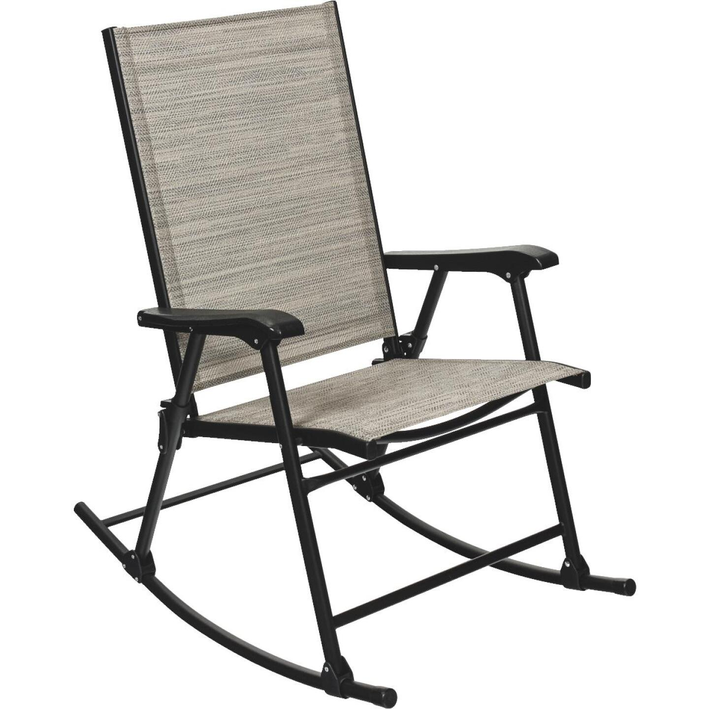 Outdoor Expressions Galveston Black Steel Rocking Chair Image 1