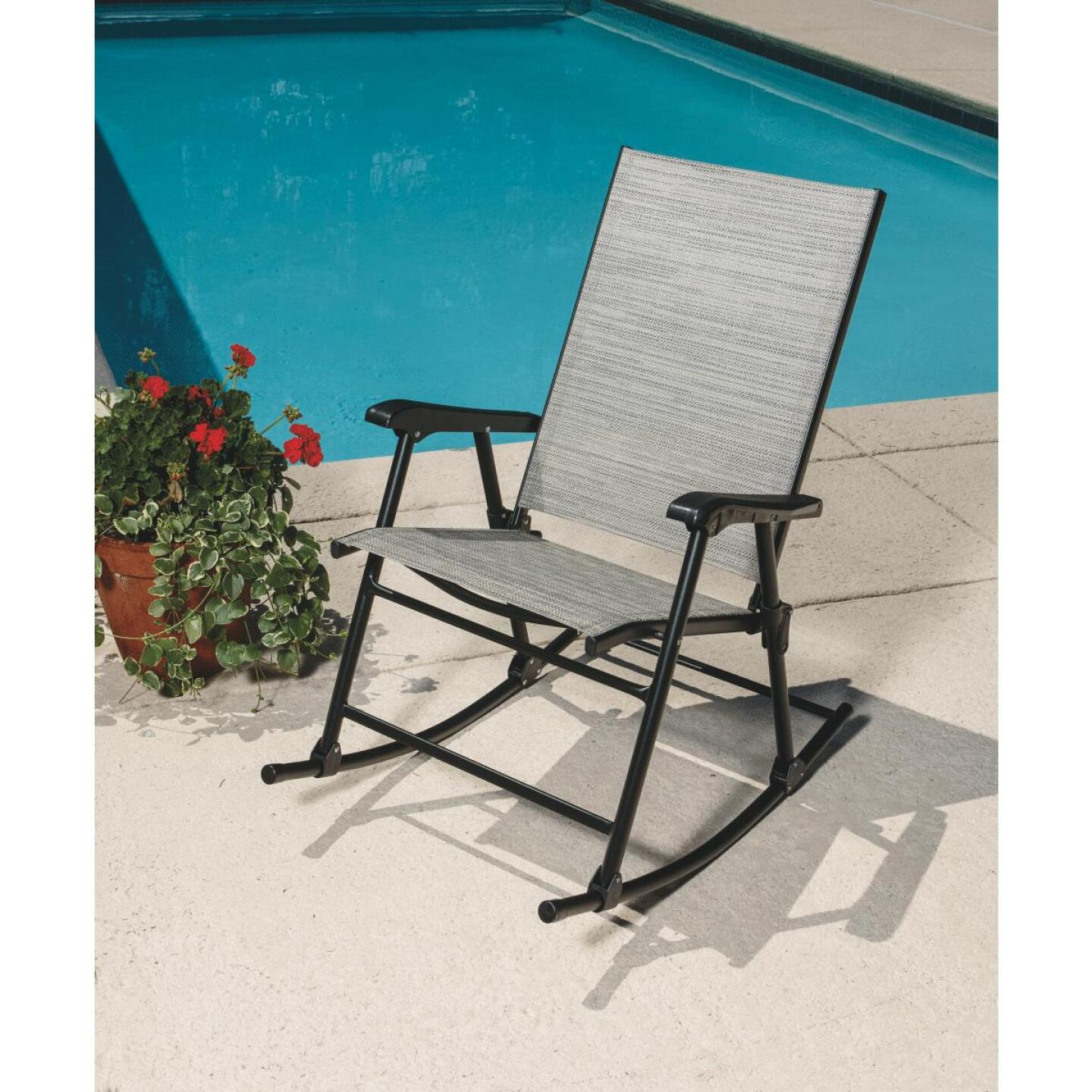 Outdoor Expressions Galveston Black Steel Rocking Chair Image 9