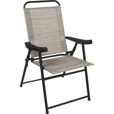 Outdoor Expressions Galveston Gray Sling Folding Chair