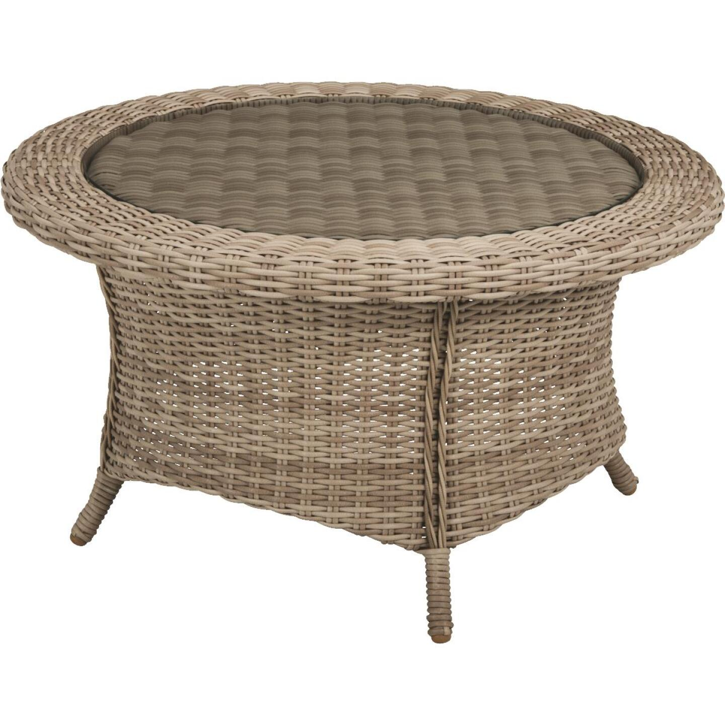 Cambria 37 In. Round Rotating Brown Wicker Table Image 1
