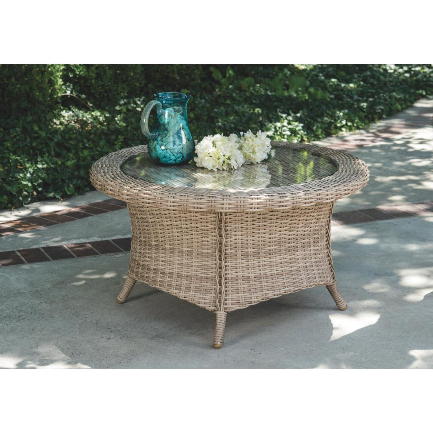Cambria 37 In. Round Rotating Brown Wicker Table Image 4