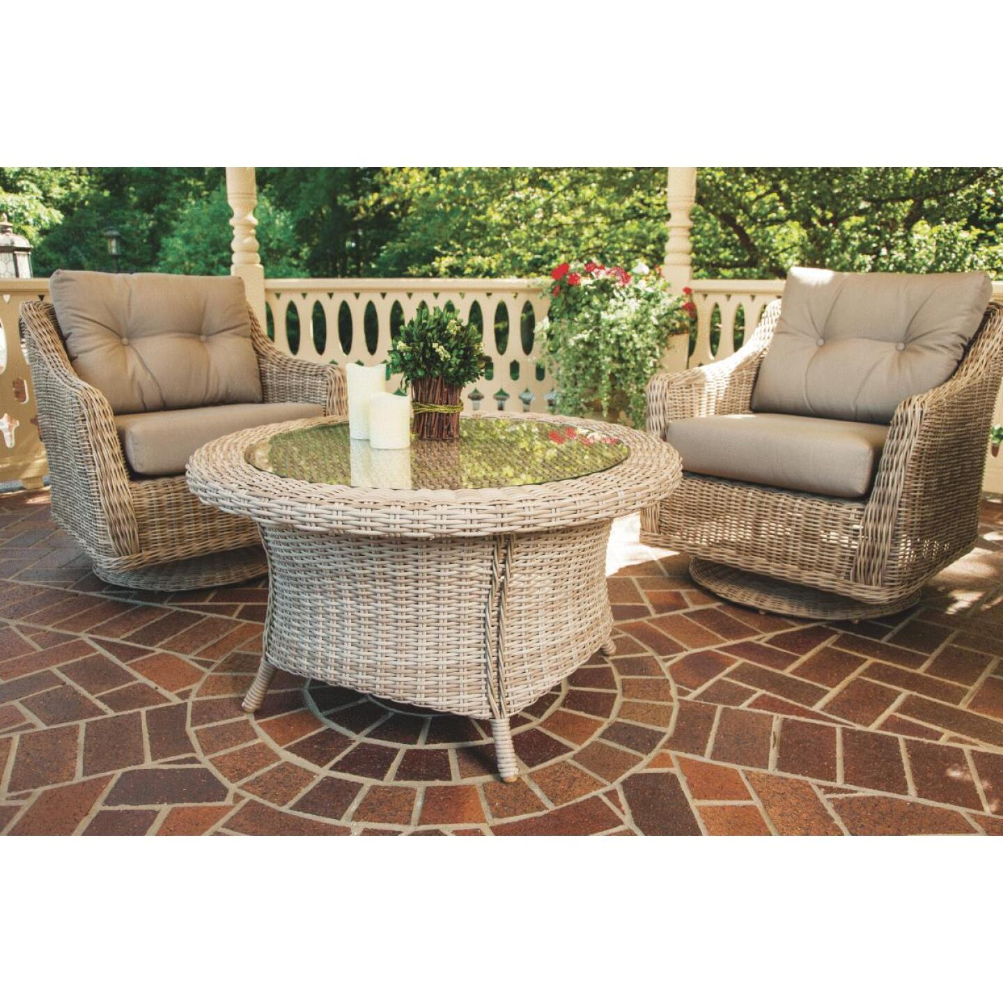 Cambria 37 In. Round Rotating Brown Wicker Table Image 6