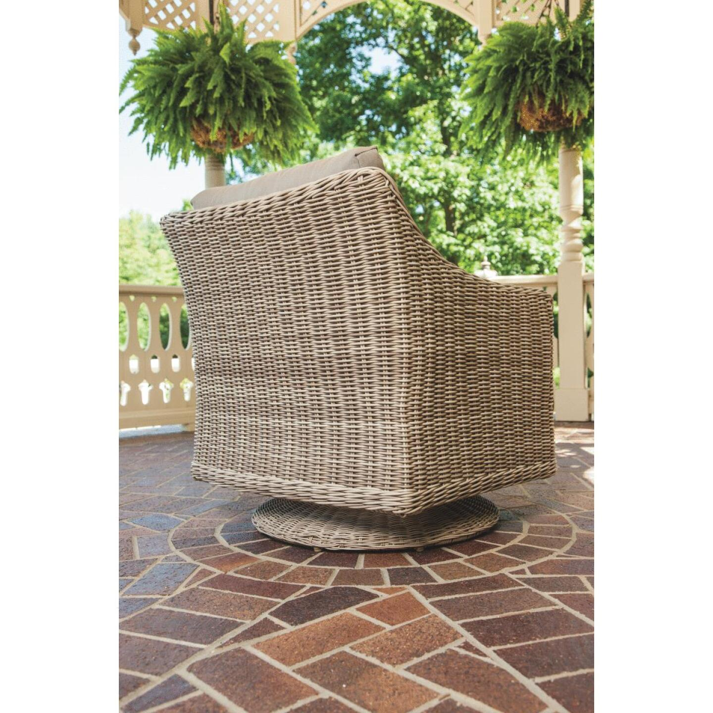 Cambria 37 In. Round Rotating Brown Wicker Table Image 8