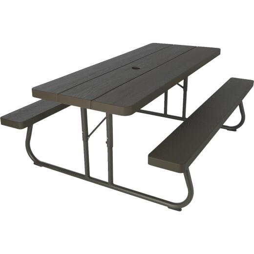 Lifetime 6 Ft. Brown Folding Picnic Table with Benches