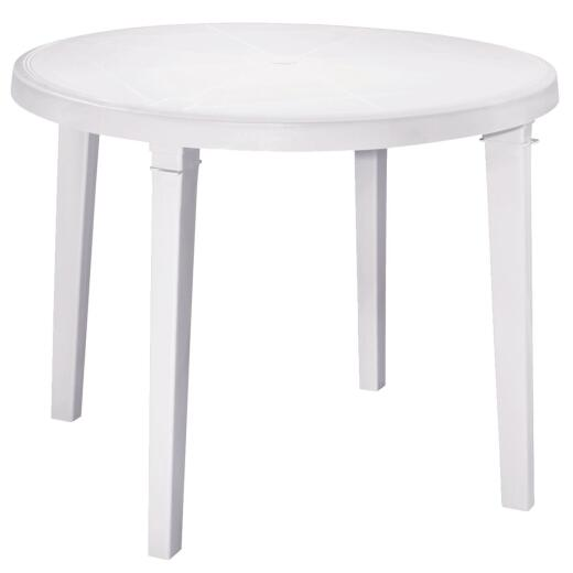 Adams 38 In. Round White Resin Table