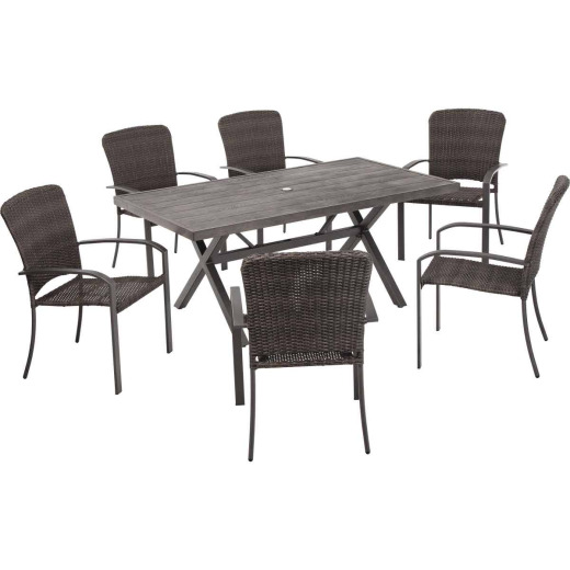 Pacific Casual Alden 7-Piece Woven Dining Set