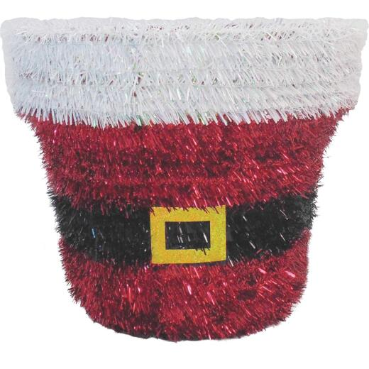 Youngcraft 10 In. Tinsel Tabletop Santa Bucket Holiday Decoration