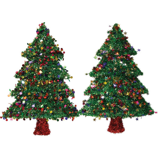 F C Young 18 In. Tinsel Christmas Tree Holiday Decoration